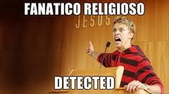 """Un energúmeno señala el nombre de su obsesión, obviamente: """"Jesús"""". Éste, queriendo razonar, sobre política, religión, ética, antropología: qué fanático... razonando, dime tú"""