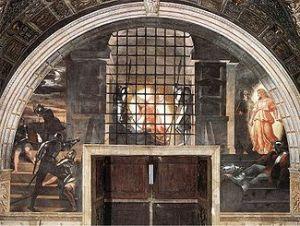 La Liberación de San Pedro, la Roca de Jesús, sobre la que se edifica la Iglesia. Cuadro de Rafael, Luz impresionante, como la Iglesia, Cuerpo de Jesús, como Él, a pesar de las prisiones o de estar escondido bajo las apariencias del pan...