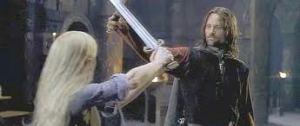 Eowyn la valiente, amante de la humanidad y la trascendencia y la nobleza, no teme a la muerte, sino la esclavitud. Aragorn la juzga con justicia: eres una hija de reyes