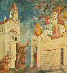 Giotto: un precursor de la gran pintura cristiana, del XIII al XVIII. Aquí, San Francisco en La expulsión de los demonios de Arezzo.