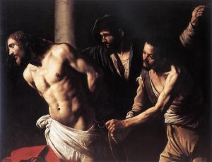 Flagelación de Caravaggio, Cristo en su agonía es Poder Infinito de Dios, desplegado en el amor