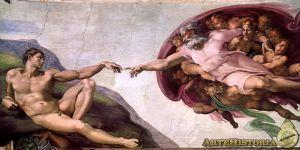 En la Creación, de Miguel Ángel, Adán es imagen del Creador, Eva, al lado de Dios, es abrazada por Él, porque será reflejo de su Gloria