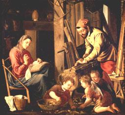 Taller de Nazaret. San José trabaja; la Virgen se ocupa de que todo esté bien; el Niño Jesús juega con amiguitos: familia santa y sagrada, imagen de Dios Trino