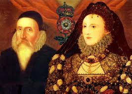 Isabel I con su mago real oficial: John Dee, quien, admirablemente, pasó a la historia, no como un visionario, medio loco, mago, sino como gran matemático, vencedor del oscurantismo, geógrafo