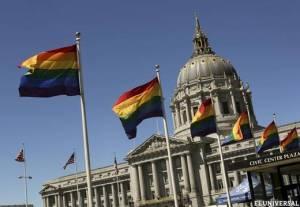 """En Estados Unidos, ya no se dice """"Bandera"""", sino Obamandera; y te la presento, es ésta, en el frente del Ayuntamiento de San Francisco"""