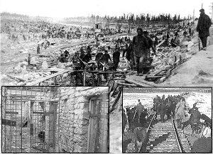 Magadan, uno de los campos de concentración   erigidos por Stalin, millones fueron sepultados en él. En estos campos consistía la economía soviética, en buena parte: mataron a decenas de millones, para hundir en la miseria a centenares de millones, hipootecando el futuro de una gran y milenaria nación cristiana: bien por la revolución, grande, viva Marx