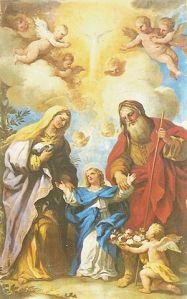 De Luca Giordano: San Joaquín, Santa Ana y la Virgen [inmaculada]: modelo más grande de familia, en la que el sexo es expresión de pura santidad y belleza divina