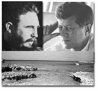 """Fidel y Kennedy y la Bahía de los Cochinos, símbolo de la """"enemistad"""" entre Cuba y EUA [foto de cuasilocutor.wordpress.com, vía google]"""