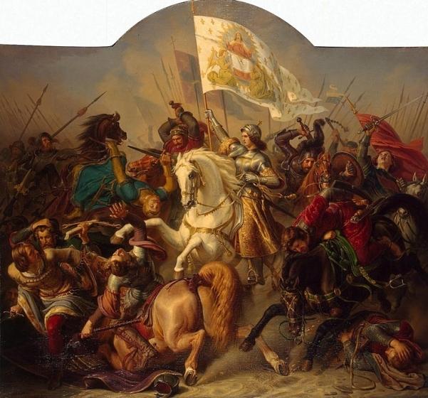 Santa Juana de Arco, con el estandarte del Cordero, símbolo de la derrota del mal, por parte de La Mujer