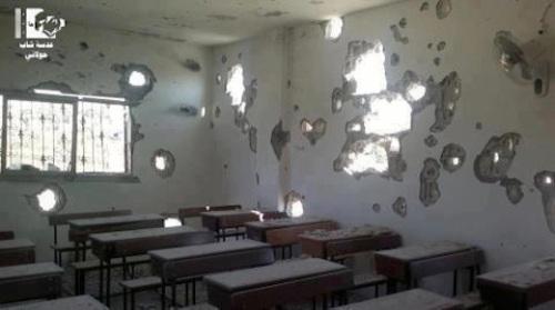 Una escuela siria destruida