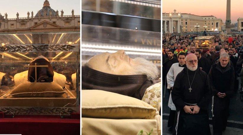San Pío de Pietralcina. Su cadáver incorrupto, aunque murió hace más de 47 años, visita el Vaticano, la gente se apiña para ver a este héroe...