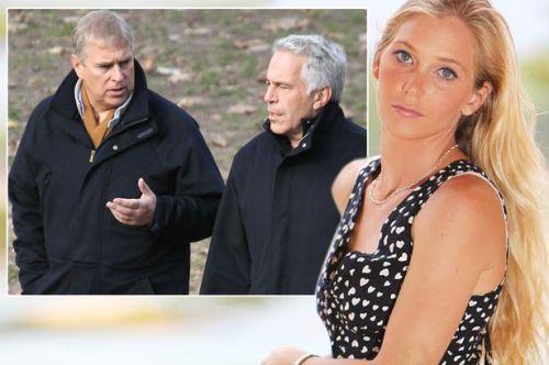 Epstein y el príncipe, con su némesis, Virginia, encima de llos, de manera muy expresiva