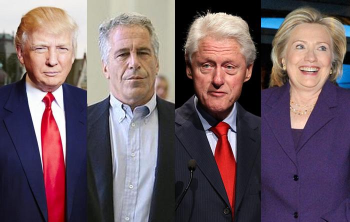 Jeffrey Epstein, con algunos de sus amigotes: Clinton y Trump, casi nada
