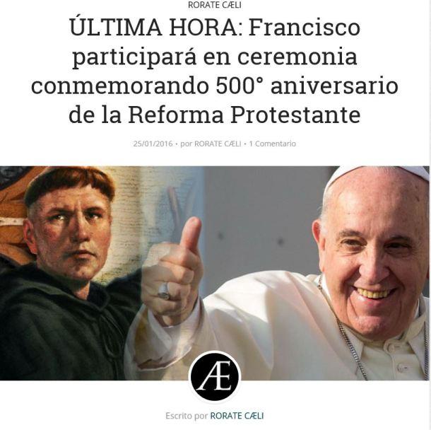 """Frankie con su admirado Lutero: fue padre de la revolución en la Cristiandad. Además, dijo que la """"razón es la prostituta del diablo"""", abriendo el camino del fideísmo y de la posibilidad de separar vida y razón, pastoral y doctrina"""