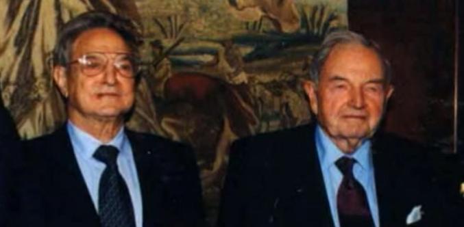 Dos grandes de la blasfemarquía, dle poder mundial: David Rockefeller y George Soros